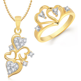 Meenaz Pendant Set bo Gold Plated CZ With American Diamond For Girls  Women  - Com14710