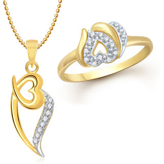 Meenaz Pendant Set bo Gold Plated CZ With American Diamond For Girls  Women  - Com14814