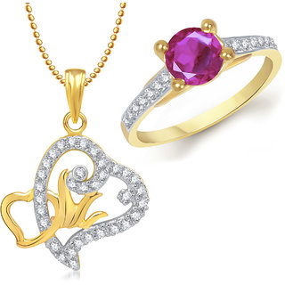 Meenaz Pendant Set bo Gold Plated CZ With American Diamond For Girls  Women  - Com14916