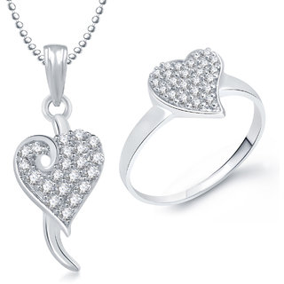 Meenaz Pendant Set bo Gold Plated CZ With American Diamond For Girls  Women  - Com19216