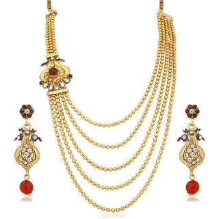 Meenaz Traditional Necklace Sets Jewellery Sets Gold Plated With Earrings For Women,Girls NL138