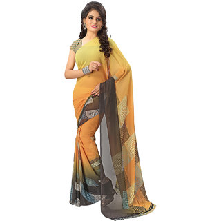 Vaamsi Yellow Georgette Printed Saree With Blouse