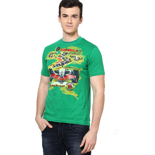 Shanty Stylish Men's Green Graphic Cotton T-Shirt
