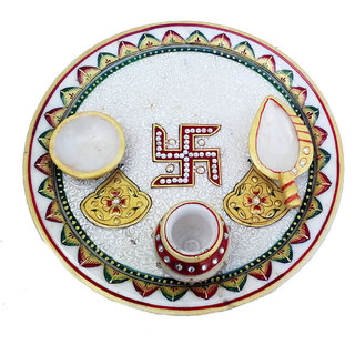 chitrahandicraft Marble Puja Thali