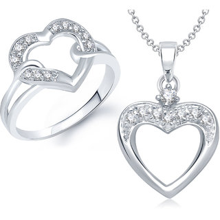 Meenaz Pendant Set bo Silver Plated CZ With American Diamond For Girls  Women  - Com11516