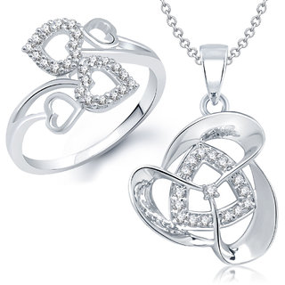Meenaz Pendant Set bo Silver Plated CZ With American Diamond For Girls  Women  - Com11816