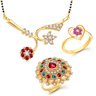 Meenaz Mangalsutra Jewellery Set bo Gold Plated For Women  - Com11918