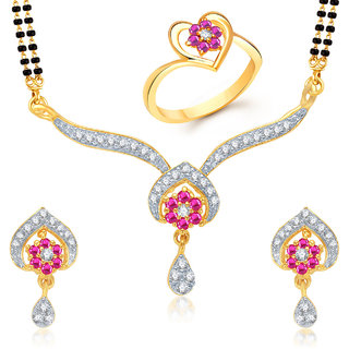 Meenaz Mangalsutra Jewellery Set bo Gold Plated For Women  - Com12112