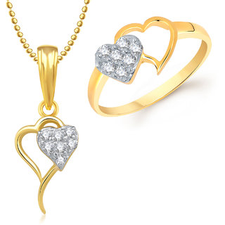 Meenaz Pendant Set bo Gold Plated CZ With American Diamond For Girls  Women  - Com1608