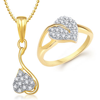 Meenaz Pendant Set bo Gold Plated CZ With American Diamond For Girls  Women  - Com16414