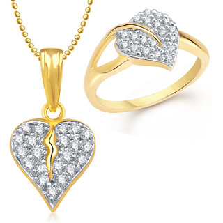 Meenaz Pendant Set bo Gold Plated CZ With American Diamond For Girls  Women  - Com16614