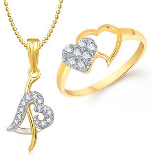 Meenaz Pendant Set bo Gold Plated CZ With American Diamond For Girls  Women  - Com16716