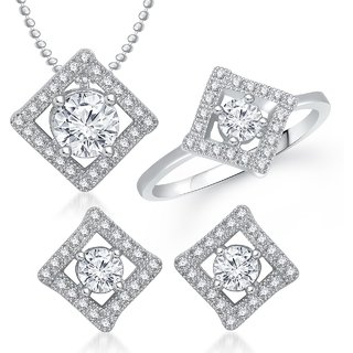 Meenaz Pendant Set bo Gold Plated CZ With American Diamond For Girls  Women  - Com2008