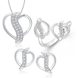 Meenaz Pendant Set bo Gold Plated CZ With American Diamond For Girls  Women  - Com20118