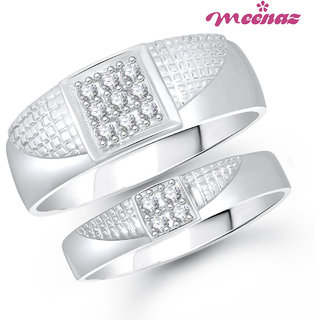 Meenaz Ring Jewellery Set bo Silver Plated Cz In American Diamond For Women And Girls  - Com20710