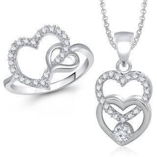 Meenaz Pendant Set bo Silver  Plated CZ With American Diamond For Girls  Women  - Com25412
