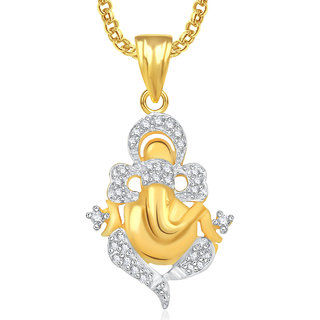 Meenaz Ganesha Ganpati God Pendant With Chain For Men,Women Gold Plated In American Diamond Cz Jewellery -GP333