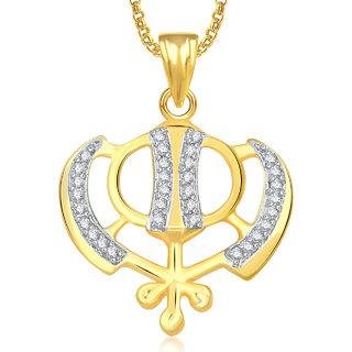 Meenaz Maa Durga Pendant With Chain For Men,Women Gold Plated In American Diamond Cz Jewellery