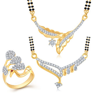 Meenaz Mangalsutra Jewellery Set bo Gold Plated For Women  - Com12316