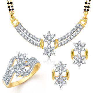 Meenaz Mangalsutra Jewellery Set bo Gold Plated For Women  - Com13118
