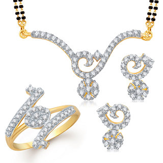 Meenaz Mangalsutra Jewellery Set bo Gold Plated For Women  - Com1358