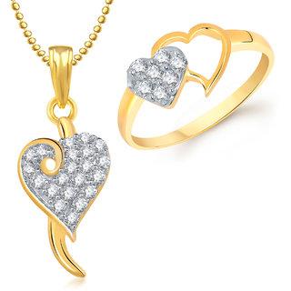 Meenaz Pendant Set bo Gold Plated CZ With American Diamond For Girls  Women  - Com17010