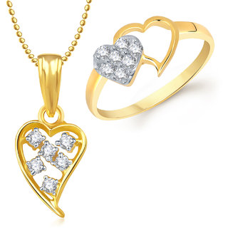 Meenaz Pendant Set bo Gold Plated CZ With American Diamond For Girls  Women  - Com17114