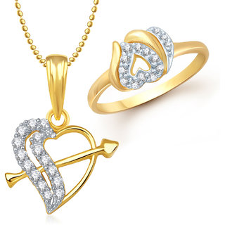 Meenaz Pendant Set bo Gold Plated CZ With American Diamond For Girls  Women  - Com17410