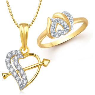 Meenaz Pendant Set bo Gold Plated CZ With American Diamond For Girls  Women  - Com17412
