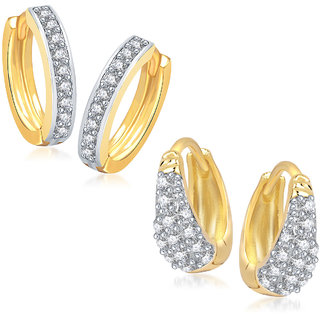 Meenaz Earrings Bali  Set Fancy Gold Plated For Girls And Women In American Diamond - Com223