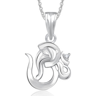 Meenaz Om Ganesha God Pendant With Chain For Men,Women Gold Plated In American Diamond Cz Jewellery -GP349