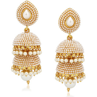 5ac5b0eba6fc80 Buy Meenaz Kundan Pearl Jhumka Earrings For Women Girls in Traditional  Ethnic Gold Plated Earings J143 Online - Get 11% Off