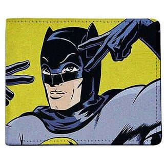 ShopMantra Yellow and Grey Canvas Vintage Batman Wallet