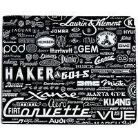 ShopMantra Black and White Canvas Car Logo Wallet