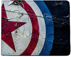 ShopMantra Blue and Red Canvas Captain America Shield Print Wallet