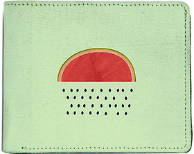 ShopMantra Green and Red Canvas Watermelon Raining Seeds Wallet