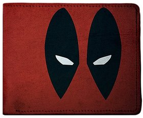ShopMantra Red and Black Canvas Deadpool Super Hero Minimal Wallet