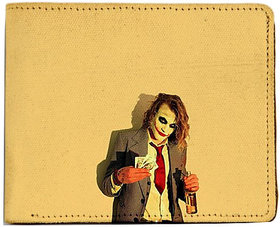 ShopMantra Yellow and Red Canvas Joker Wallet