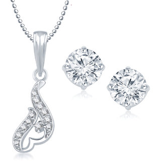Meenaz Pendant Set bo Gold Plated CZ With American Diamond For Girls  Women  - Com18716