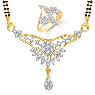 Meenaz Mangalsutra Jewellery Set bo Gold Plated For Women  - Com24616