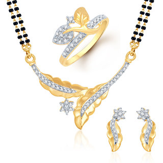 Meenaz Mangalsutra Jewellery Set bo Gold Plated For Women  - Com25012