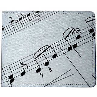 ShopMantra Grey and Black Canvas Music Notes On Paper Wallet