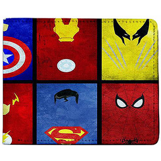 ShopMantra Yellow and Red Canvas Superhero Cards Wallet