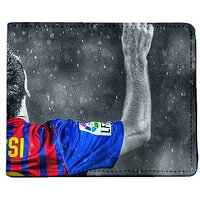 ShopMantra Grey and Blue Canvas Messi Signature Pose Wallet