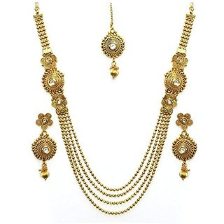 Awww Antique Kundan Traditional Maharani Temple Necklace Set / Jewellery Set with Earrings for Women