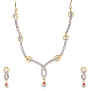 Awww American Diamond Gold Plated Jewellery Set / Necklace set with Earrings For Women / Girls