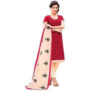 Biyu red Chenderi Embroidered Dress Material with Matching dupatta unstiched Dress Material