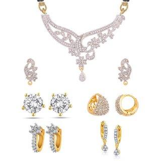 Awww Gold Plated Mangalsutra Set  Earrings For Women