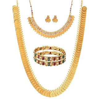 Awww Gold Plated Kundan Polki Designer Bangles, Long Traditional Maharani Temple coin and White Temple Coin Necklace Set for Women