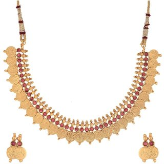 Awww Traditional Red Temple Coin Jewellery Set / Necklace Set With Earring for Women